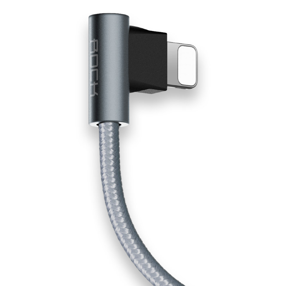 Кабель USB/Lightning L-shape Metal Charge & Sync round Cable
