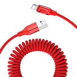 Кабель USB-lightning Rock Stretchable Charge & Sync Cable красный