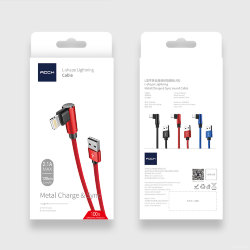 Rock L-shape Lightning Metal  Charge & Sync round Cable