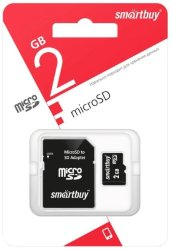 Карта памяти MicroSD  2GB  Smart Buy + SD адаптер
